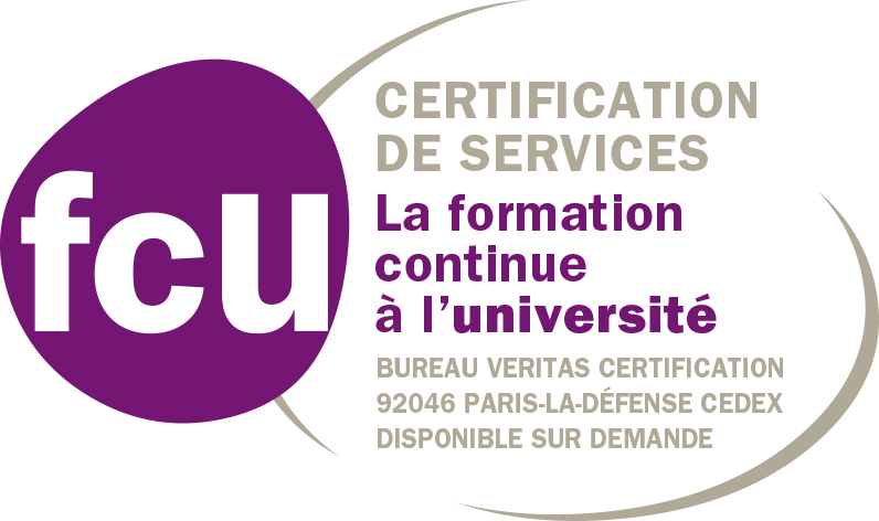 Logo FCU, certification de services, la formation continue à l'université, Bureau Veritas certification 92046 Paris-La Défense Cedex, disponible sur demande